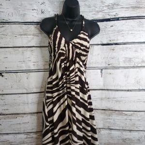 BCBGMAXAZRIA/ Zebra Print Halter Dress / Large